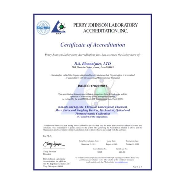 מעבדת כיולים מוסמכת ISO17025